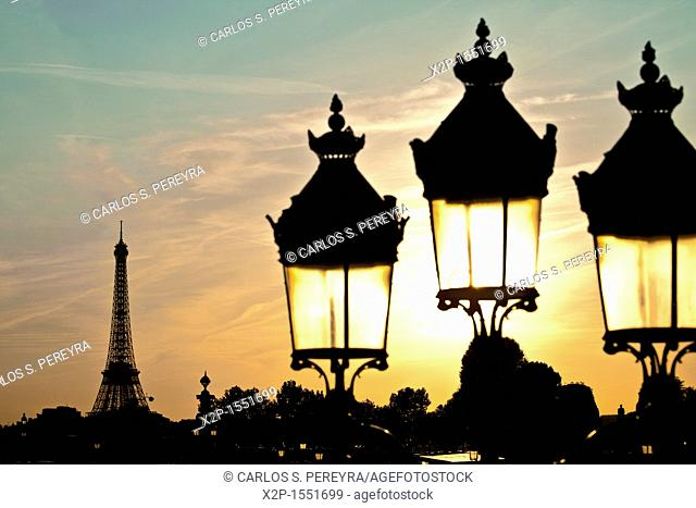 Eiffel Tower view from the Concorde Square, Paris, France