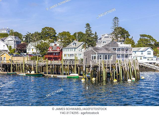 Waterfront harbor area of Boothbay Harbor Maine in the United States