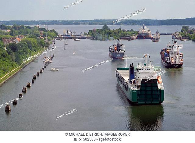 Shipping traffic at Holtenau lock, Kiel Canal, Kiel, Schleswig-Holstein, Germany, Europe