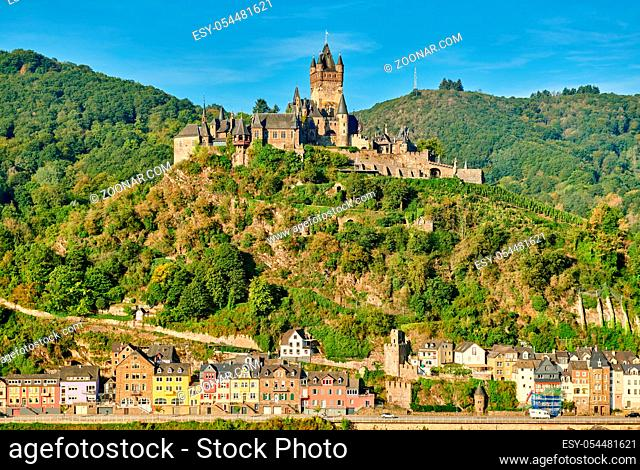 Beautiful Cochem town in Germany on Moselle river with Reichsburg castle on a hill
