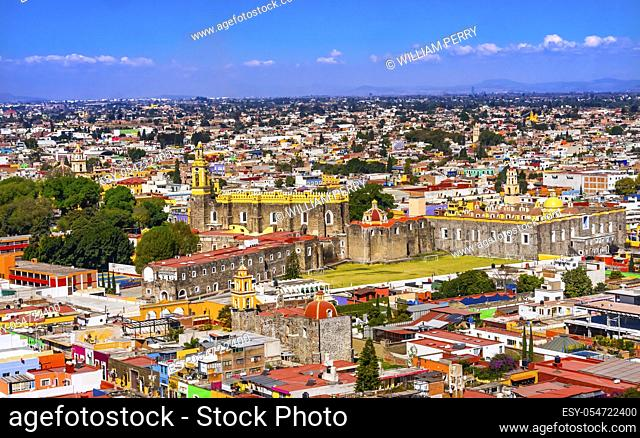 Overlook Colorful Churches Cityscape Cholula Puebla Mexico. Churches built 1500s and 1600s. Cholula had 365 churches with very small population