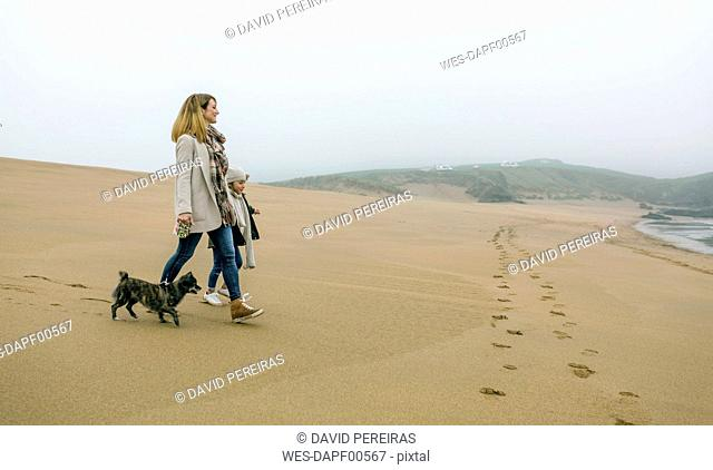 Woman walking with daughter and dog on the beach on a foggy winter day