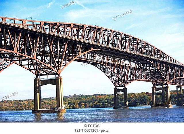Arch bridge spanning Hudson River, Newburgh, New York