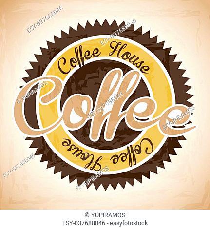 coffee house label over vintage background vector illustration