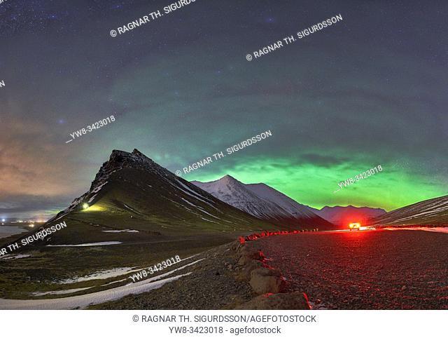 Aurora Borealis, Haitindur peak, Hofn town in Hornafjordur, Iceland