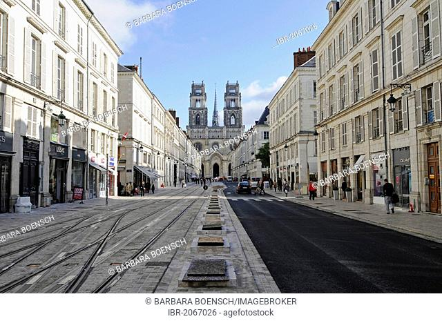 Rue Jeanne d'Arc, street, Cathedrale Sainte-Croix, Orleans, Loiret, Centre, France, Europe, PublicGround