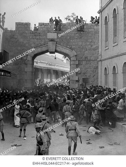 Arab demonstration at the New Gate, Jerusalem, as the police cordon blocked the procession. Oct. 13, 1933. Initiated by the Arab Executive Committee