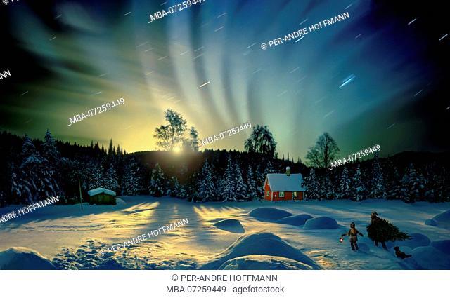 Northern lights at Lillehammer, Norway, Scandinavia