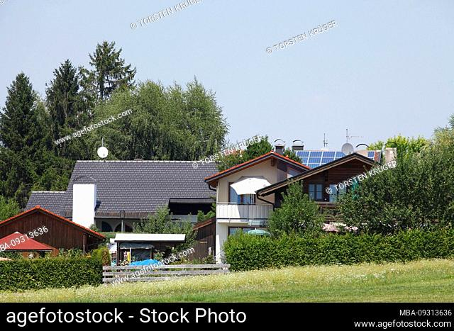 Residential building, Gstadt, Chiemsee, Chiemgau, Upper Bavaria, Bavaria, Germany, Europe