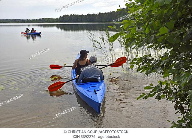 canoe trip on Baluosas Lake around Ginuciai, Aukstaitija National Park, Lithuania, Europe