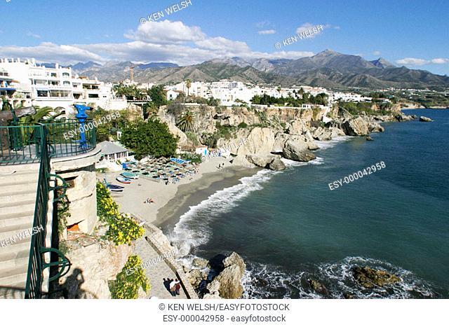 Calahonda beach from Balcón de Europa. Nerja. Costa del Sol, Málaga province. Spain