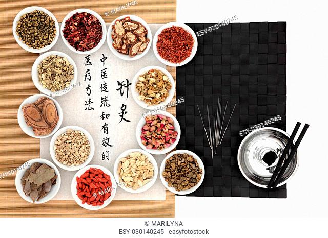 Traditional chinese medicinal herb ingredients, acupuncture needles and moxa sticks, with calligraphy on rice paper. Translation describes acupuncture chinese...