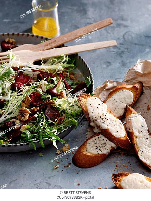 Beetroot, goats cheese and walnut salad with cheesy croutons