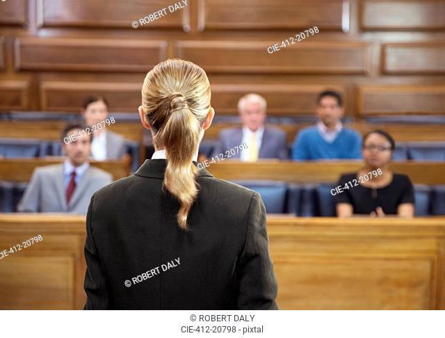 Lawyer pleading case to jury in court