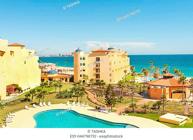 Hotels and pristine sandy beach in Puerto Penasco, Mexico