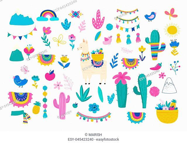 Llama illustration, cute hand drawn elements and design for nursery design, poster, birthday greeting card