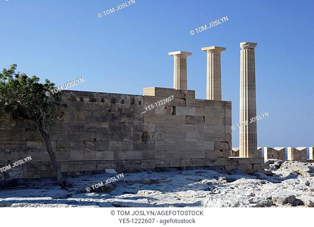 Pillars of The Doric Temple of Athena Lindia - The Acropolis at Lindos, Rhodes, Dodecanese , Greece