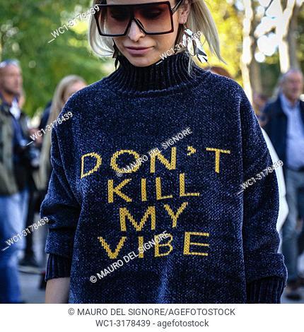 PARIS, France- September 26 2018: Anouki Areshidze on the street during the Paris Fashion Week