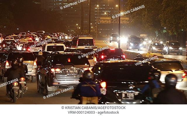 Heavy traffic in downtown Jakarta, Java, Indonesia, Southeast Asia