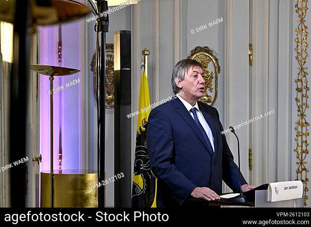 Flemish minister president Jan Jambon pictured during a press conference of the Flemish government on the 'De relance van de Vlaamse arbeidsmarkt'