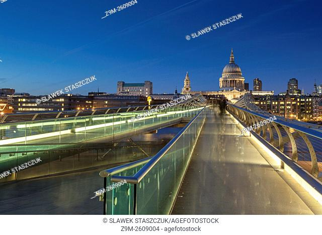 Evening at Millennium Bridge in London, England