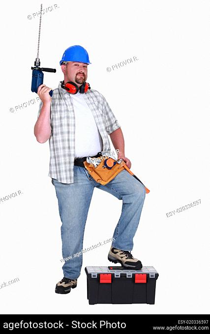Handyman showing off all of his tools
