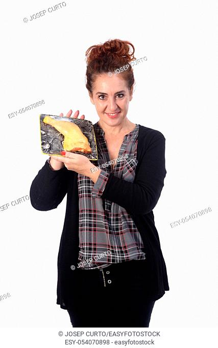 woman with chicken meat on white background