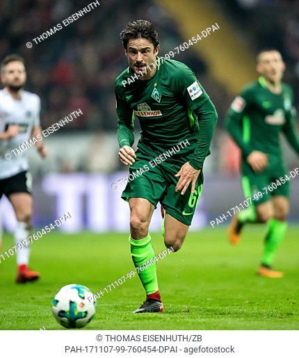 Werder Bremen's player Thomas Delaney on the ball during the Bundesliga soccer match Eintracht Frankfurt vs Werder Bremen in Frankfurt, Germany