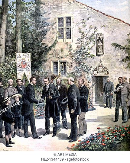 The Grand Duke Constantine of Russia visiting the house of Joan of Arc, Domremy, 1892. A print from the Le Petit Journal, 26th June 1892
