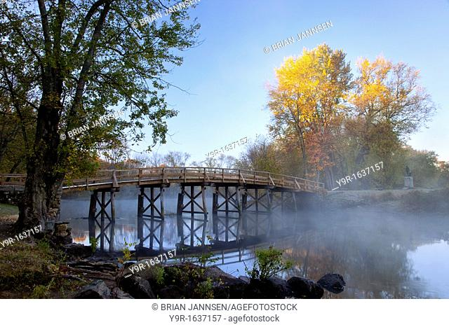 Autumn dawn at the historic Old North Bridge in Concord Massachusetts, USA