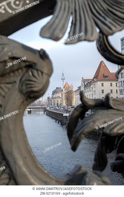 Germany ,Berlin, Friedrichstrasse- view east from Wedendammer Brucke over river Spree