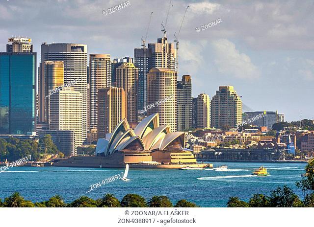 SYDNEY, AUSTRALIA - APRIL 24: Sydney skyline with Opera house, on of most recognizble landmarks. April 2016