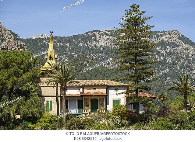 Vil·la Francisca, casa modernista, diseñada en 1908 por Guillem Puig Salvà, discípulo de Gaudí, Bunyola, Mallorca, Balearic Islands, Spain