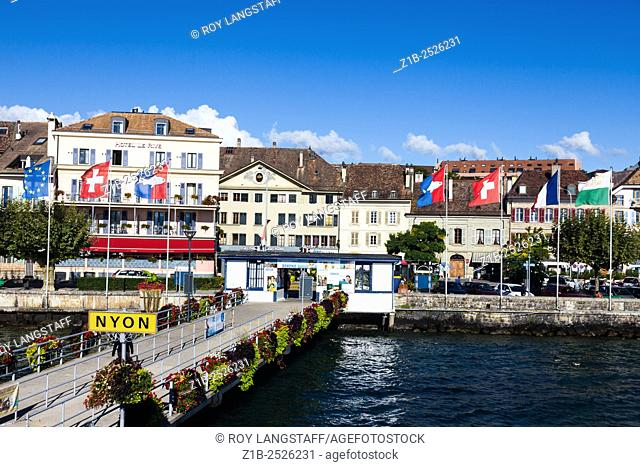 Waterfront view of the town of Nyon on Lake Geneva, Switzerland
