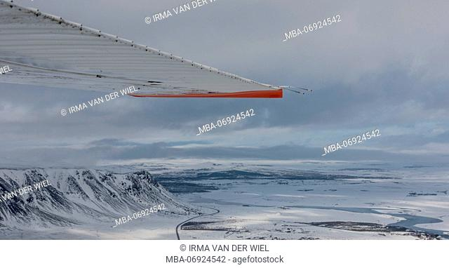 Iceland, areal view, in winter made from a Cessna 207, part of the wing visible