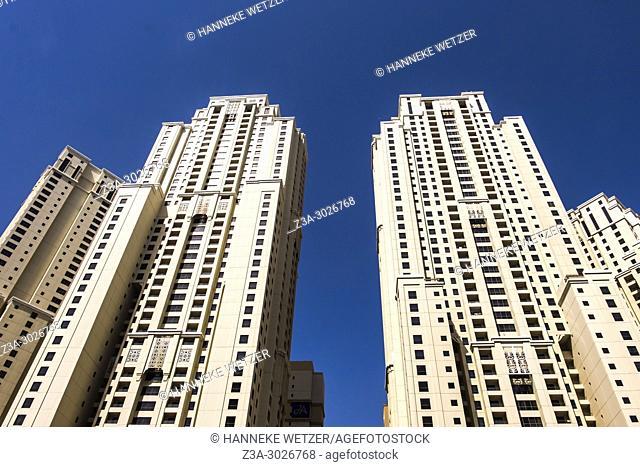 JBR Jumeirah Beach Residence; a 1. 7 kilometres long floor area waterfront community located against the Persian Gulf in Dubai Marina in Dubai