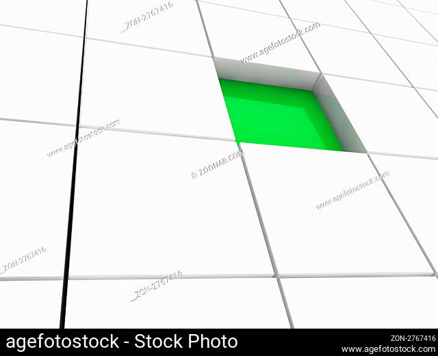 3d cube green white area square abstract