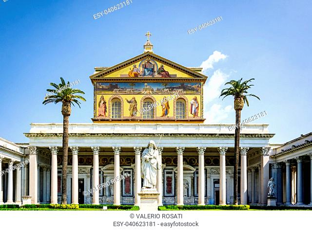 The main facade of the Basilica of Saint Paul outside the walls in Rome, Italy