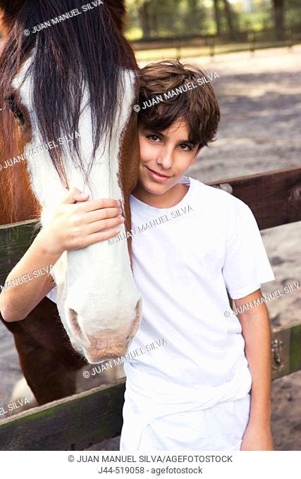 Boy embracing a clysdale horse face in a barn, Ocala, Florida