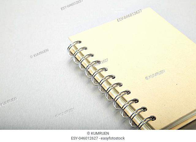 Brown note book, Aluminum texture background