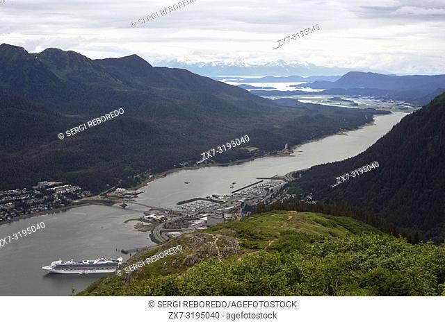 Landscape views at the top. Trekking from the Mt Roberts Tramway, Juneau. Alaska. The top terminal of the tram is located on a tower and offers spectacular...