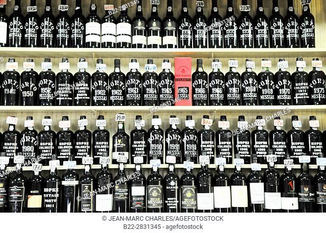 Store selling old bottles of Porto wine, Porto, Portugal