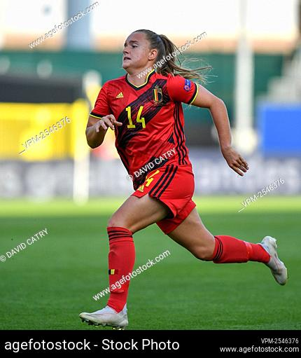 Belgium's Davinia Vanmechelen pictured in action during a soccer game between Belgium's Red Flames and Romania, Friday 18 September 2020 in Heverlee