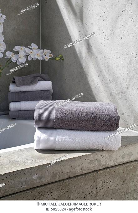 Towels in a contemporary styled bathroom