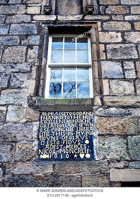 Inscription Detail at The Bruce Inn at Falkland Fife Scotland
