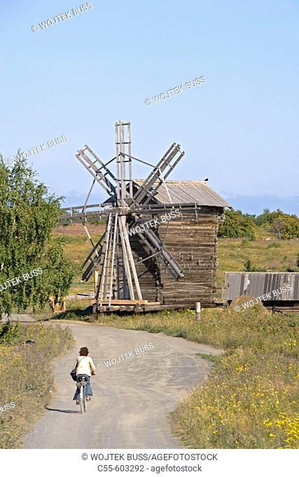 Village of Yamka, wind mill. Kizhi Island. Onega lake, Karelia. Russia