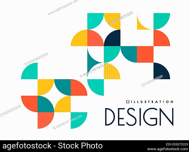 Geometric design with shapes in the style of squares with rounded corners and circles. Memphis style. Vector illustration on white