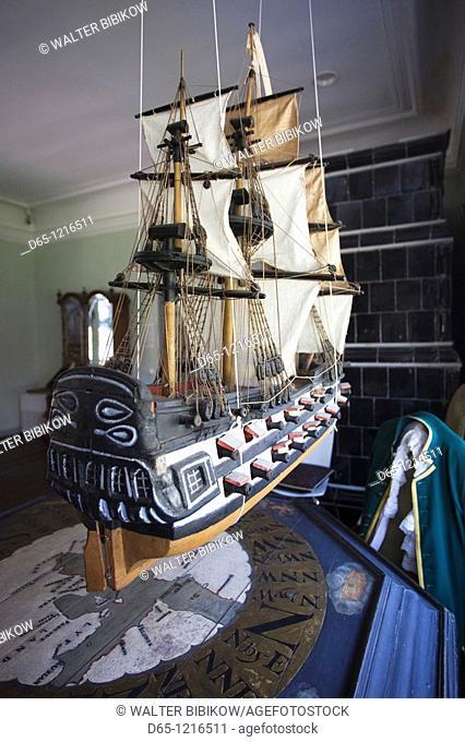 Estonia, Tallinn, Kadriorg area, Peter the Great Home Museum, interior with sailing ship model