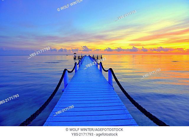 Pier at sunrise at Odyssee Resort and Spa at Zarzis, Tunisia,Tunisia