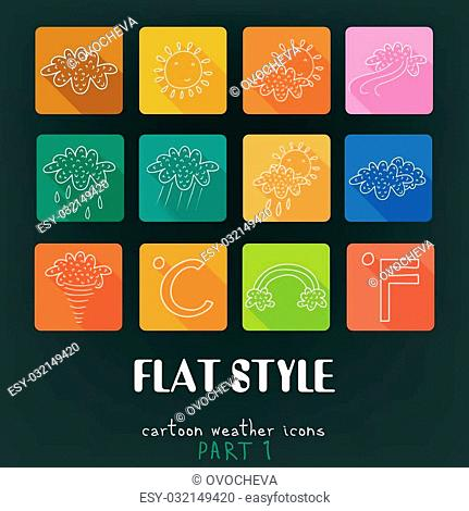Cartoon flat icons vector collection with long shadow effect in stylish colors. Weather Part 1. Isolated on background